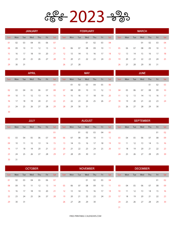12 Month Colorful Calendar For 2023 Free Printable Calendars
