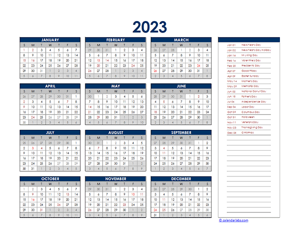 2023 Excel Yearly Calendar Free Printable Templates