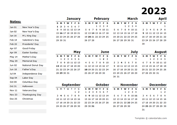 2023 Year Calendar Template With US Holidays Free