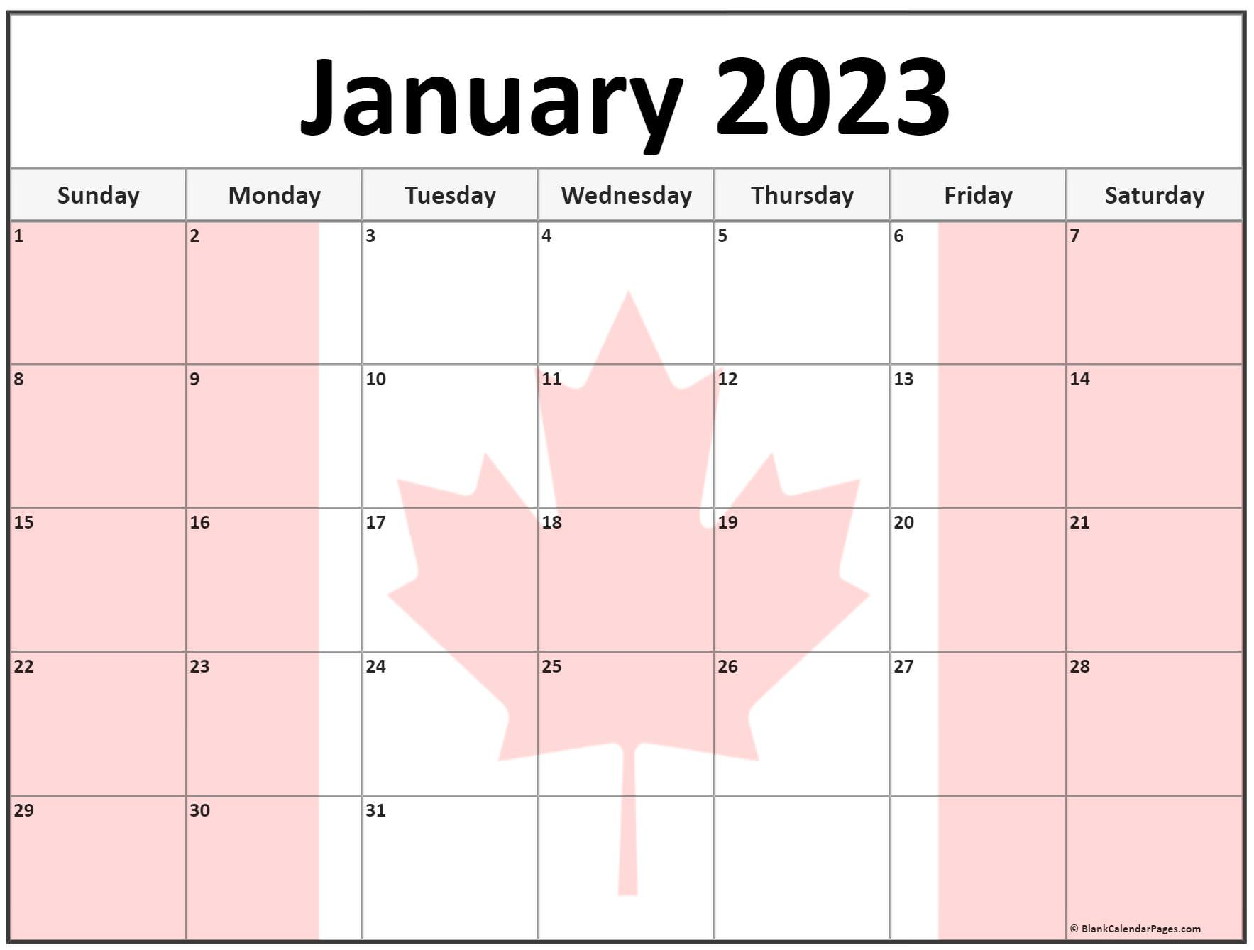 Collection Of January 2023 Photo Calendars With Image Filters