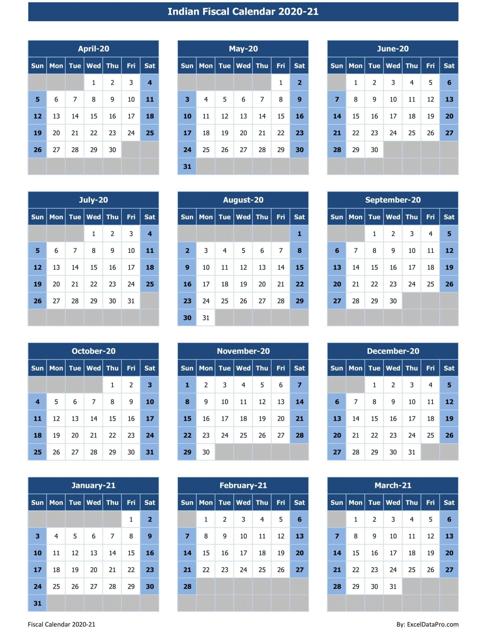 Download Indian Fiscal Calendar 2020 21 Excel Template