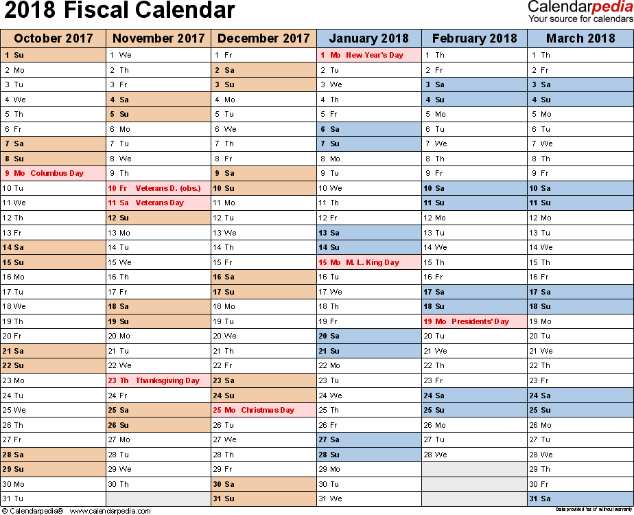 Fiscal Calendars 2018 Free Printable Word Templates