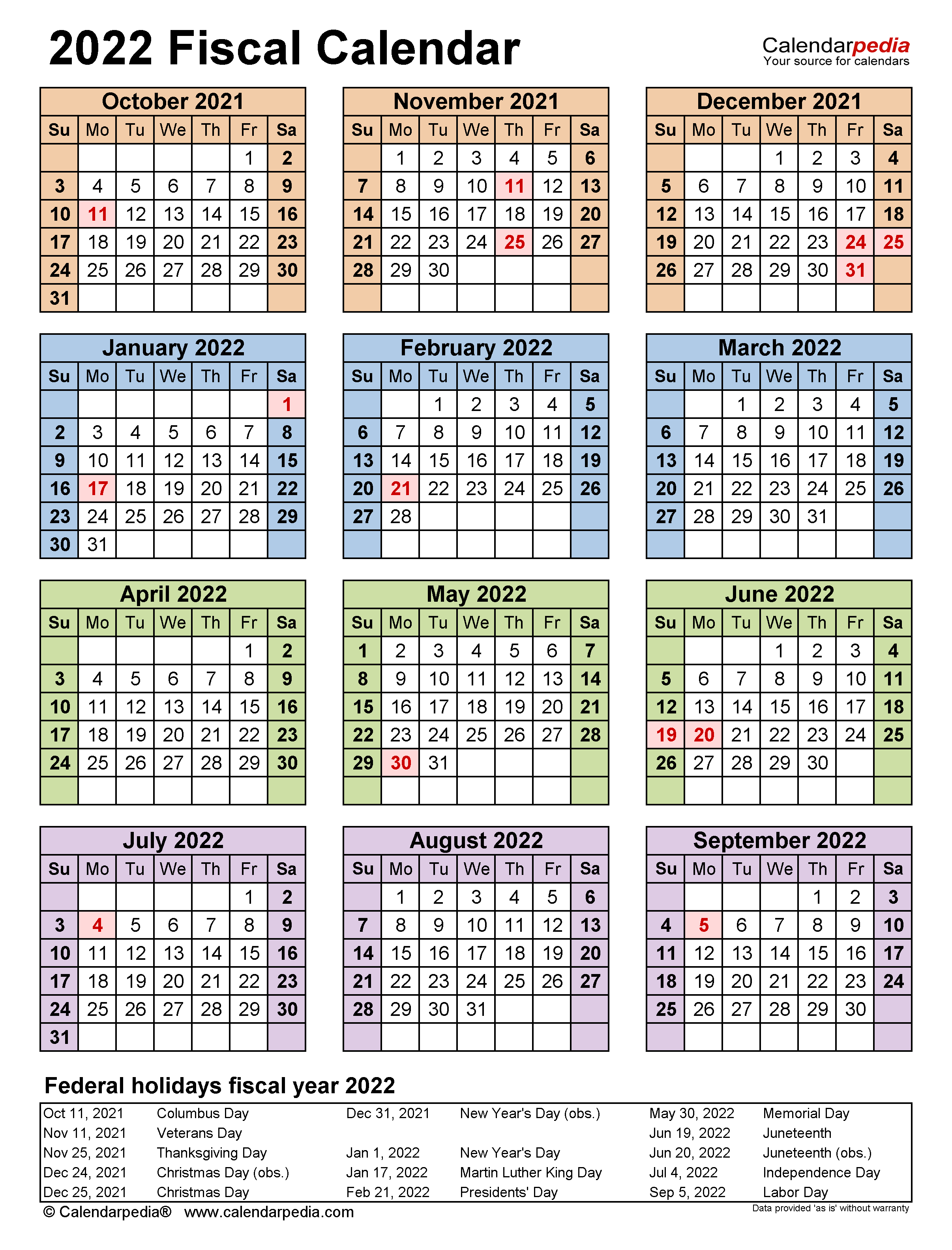 Fiscal Calendars 2022 Free Printable Excel Templates