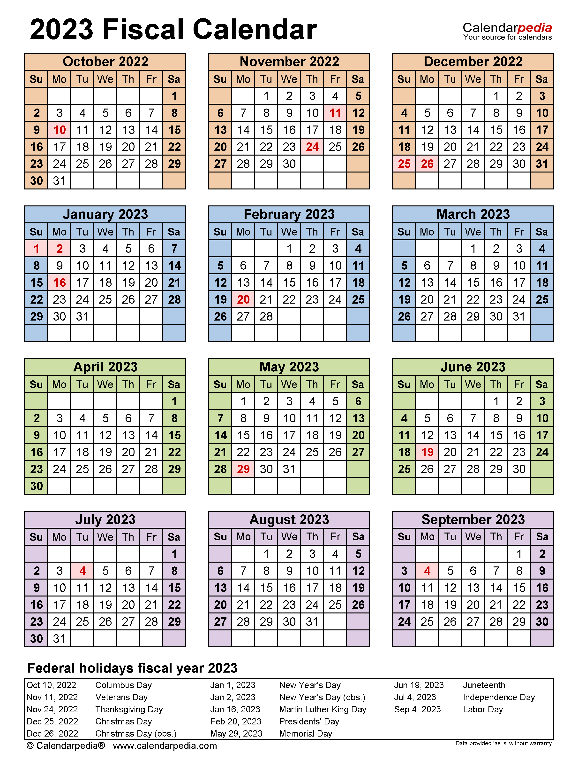 Fiscal Calendars 2023 Free Printable Word Templates