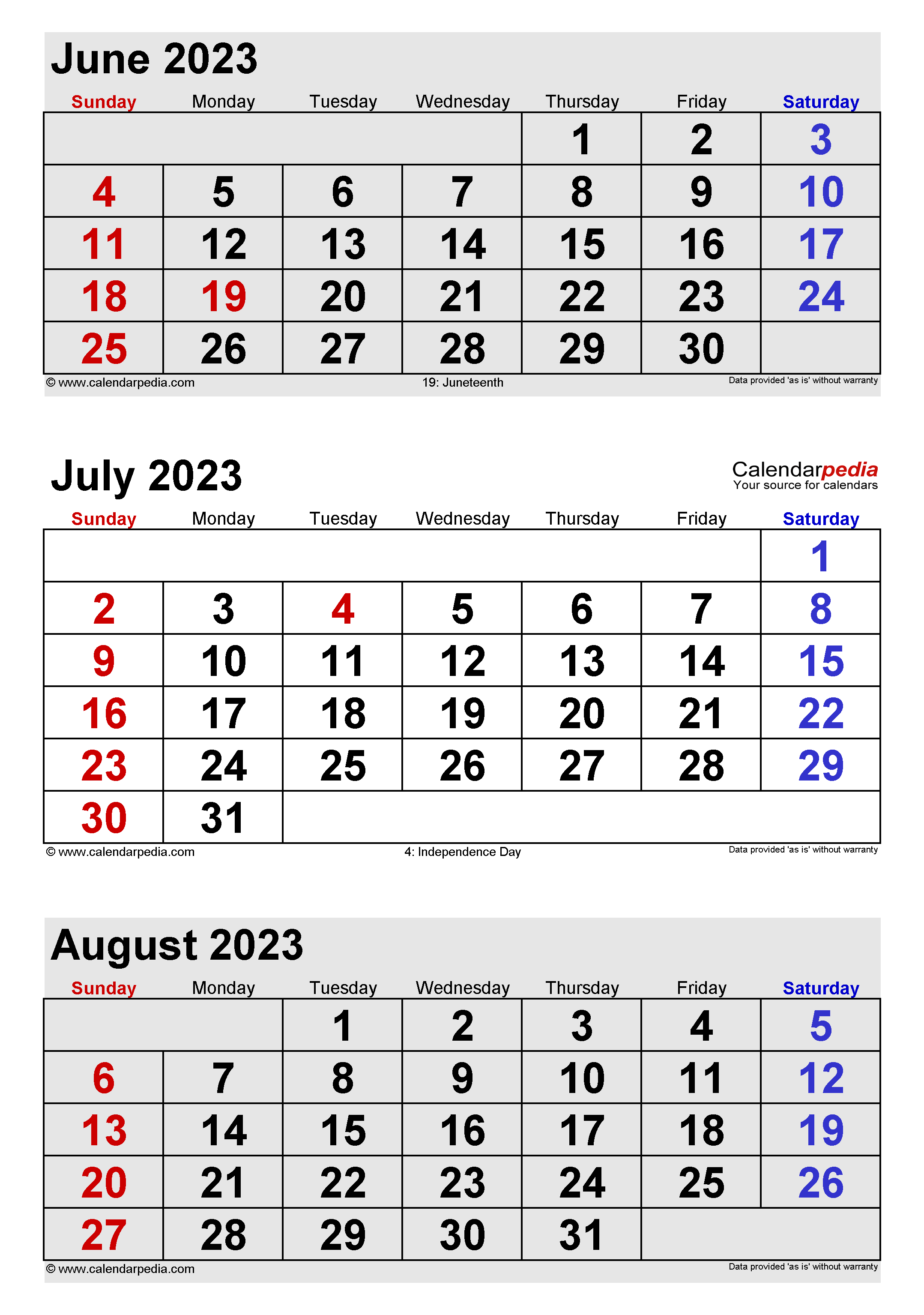 July 2023 Calendar Templates For Word Excel And PDF