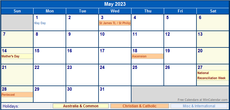 May 2023 Australia Calendar With Holidays For Printing