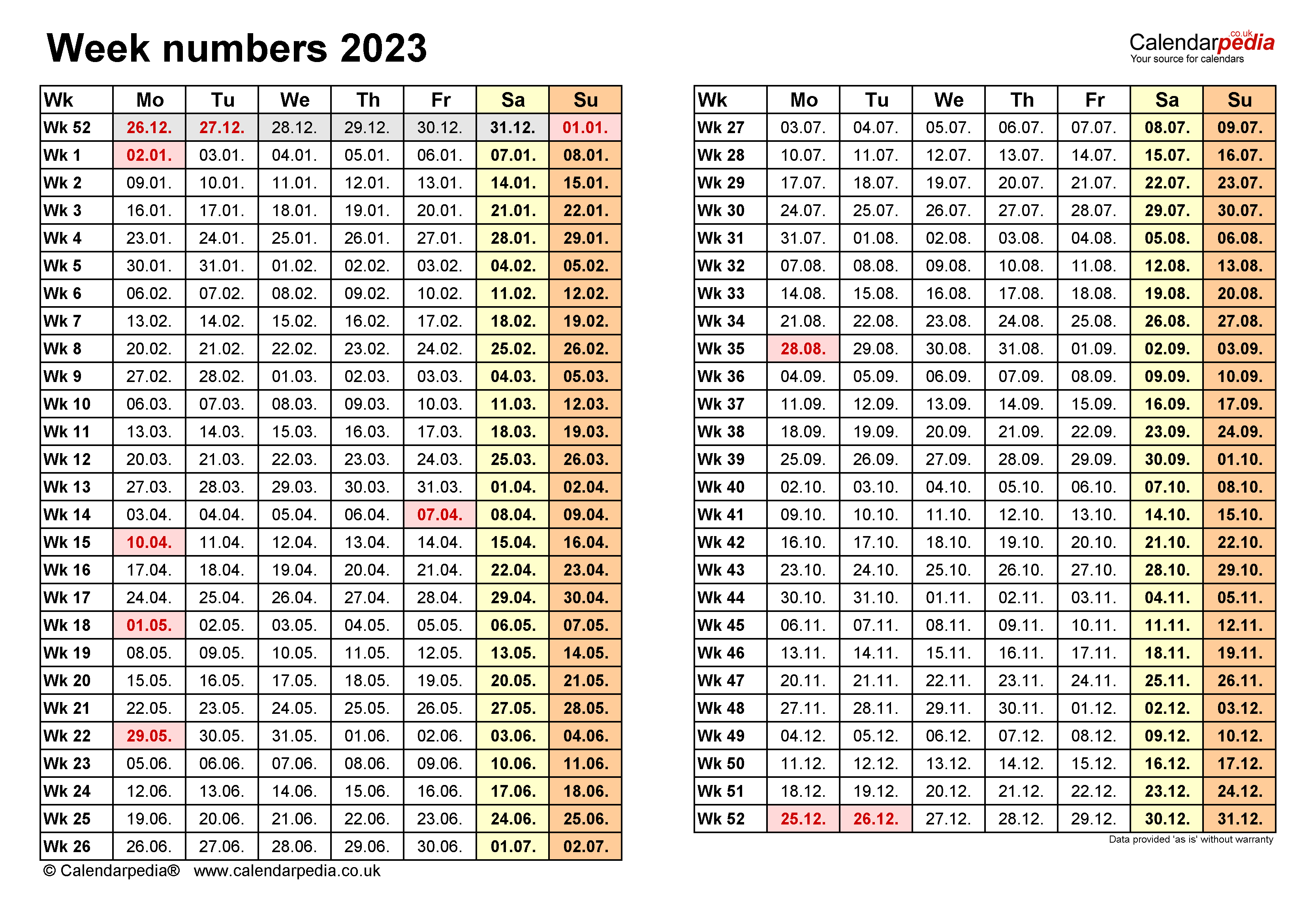 Week Numbers 2023 With Excel Word And PDF Templates