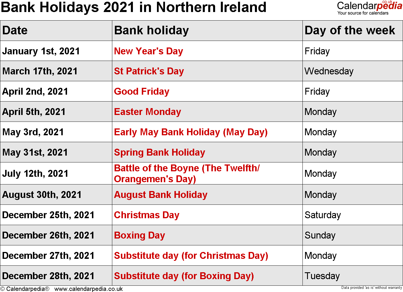 Bank Holidays 2021 In The UK With Printable Templates
