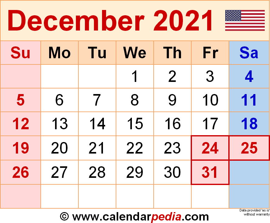 December 2021 Calendar Templates For Word Excel And PDF
