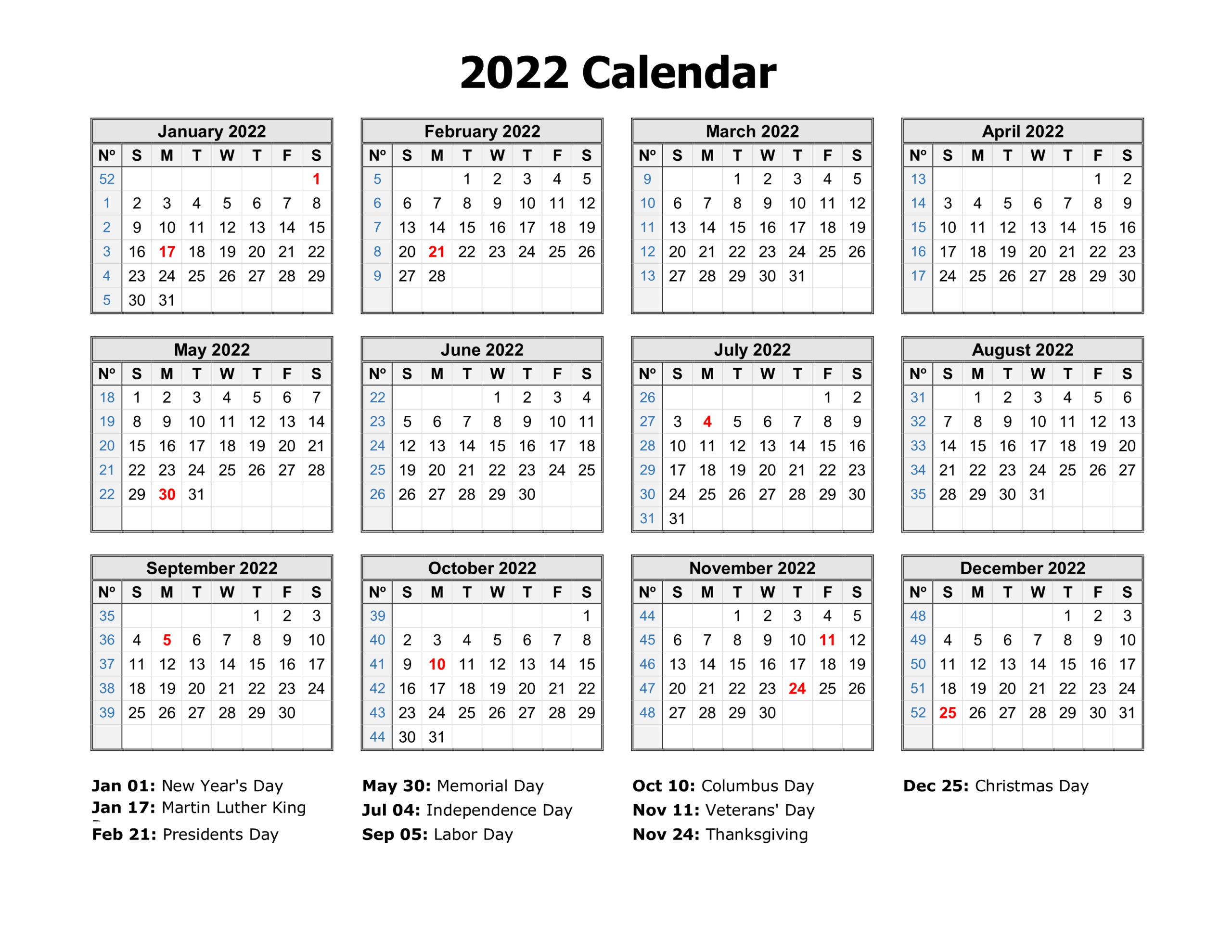 Free Download Printable Calendar 2022 In One Page Clean