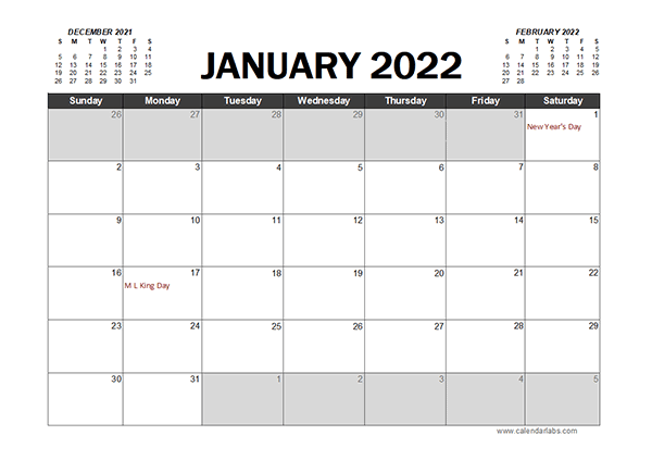 Monthly 2022 Excel Calendar Planner Free Printable Templates