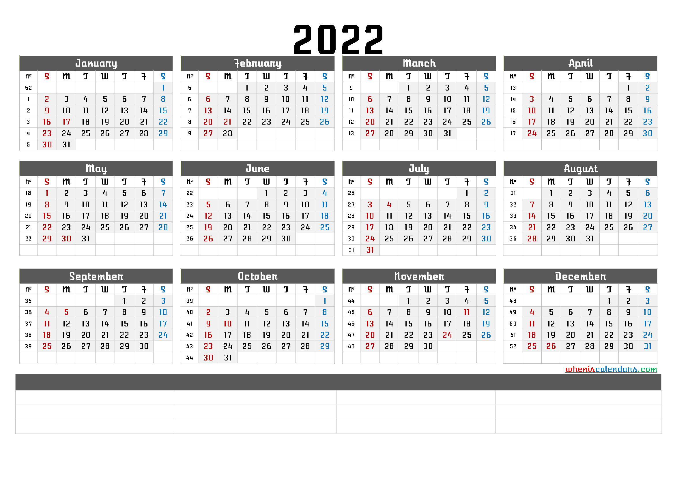Printable 2022 Yearly Calendar With Week Numbers 6 Templates