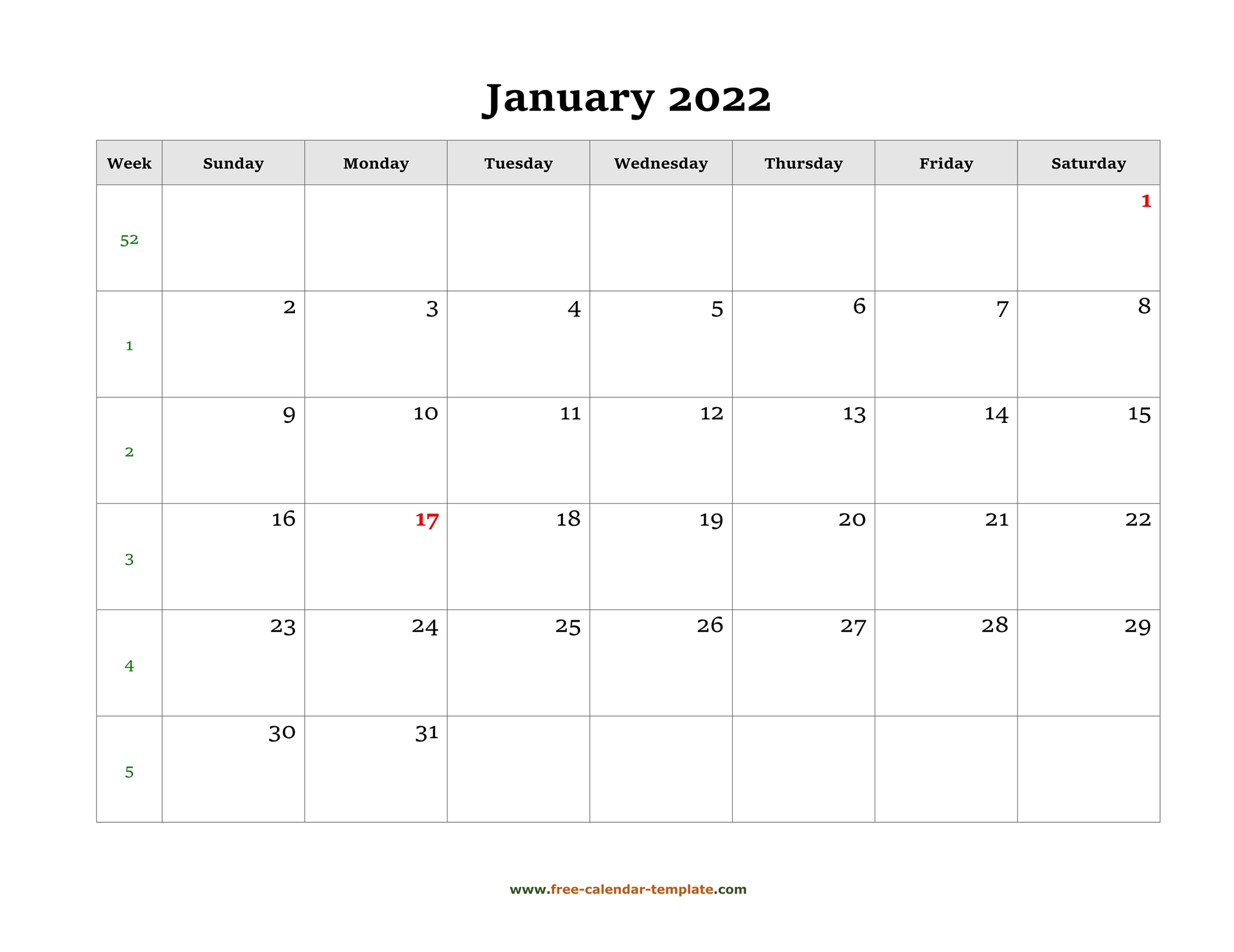 Simple Monthly Calendar 2022 Large Box On Each Day For